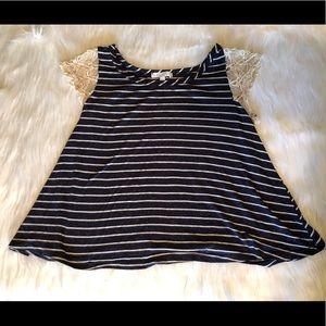 Delia's stripe and lace tee